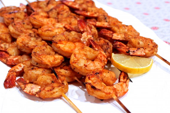 Skewered Fired-Up Grilled Shrimp