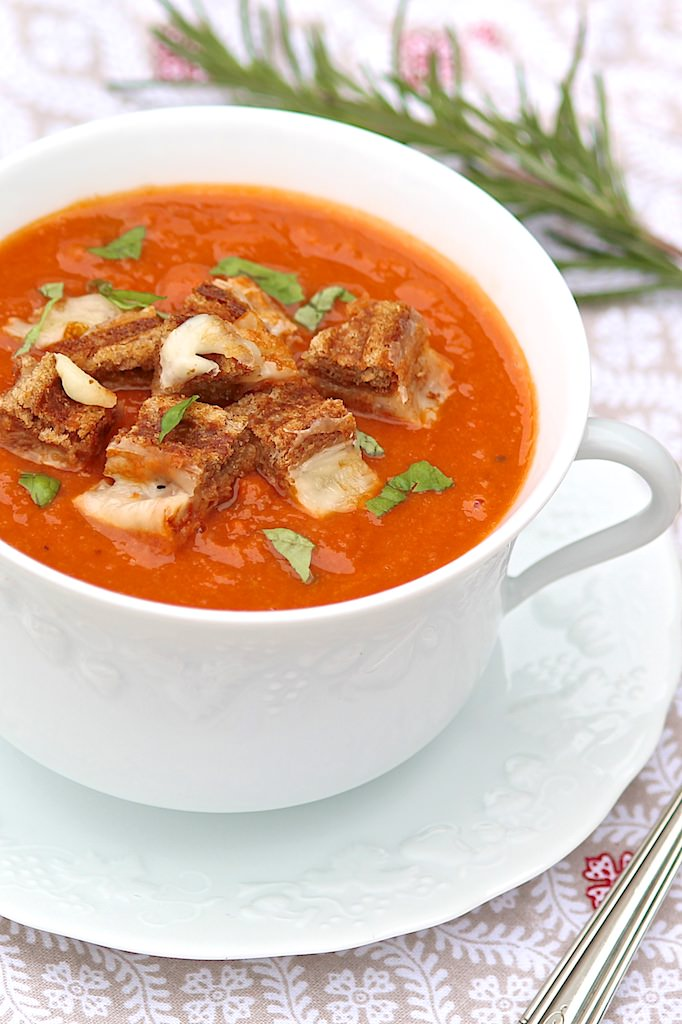 Cannellini Tomato Soup with Grilled Cheese Croutons