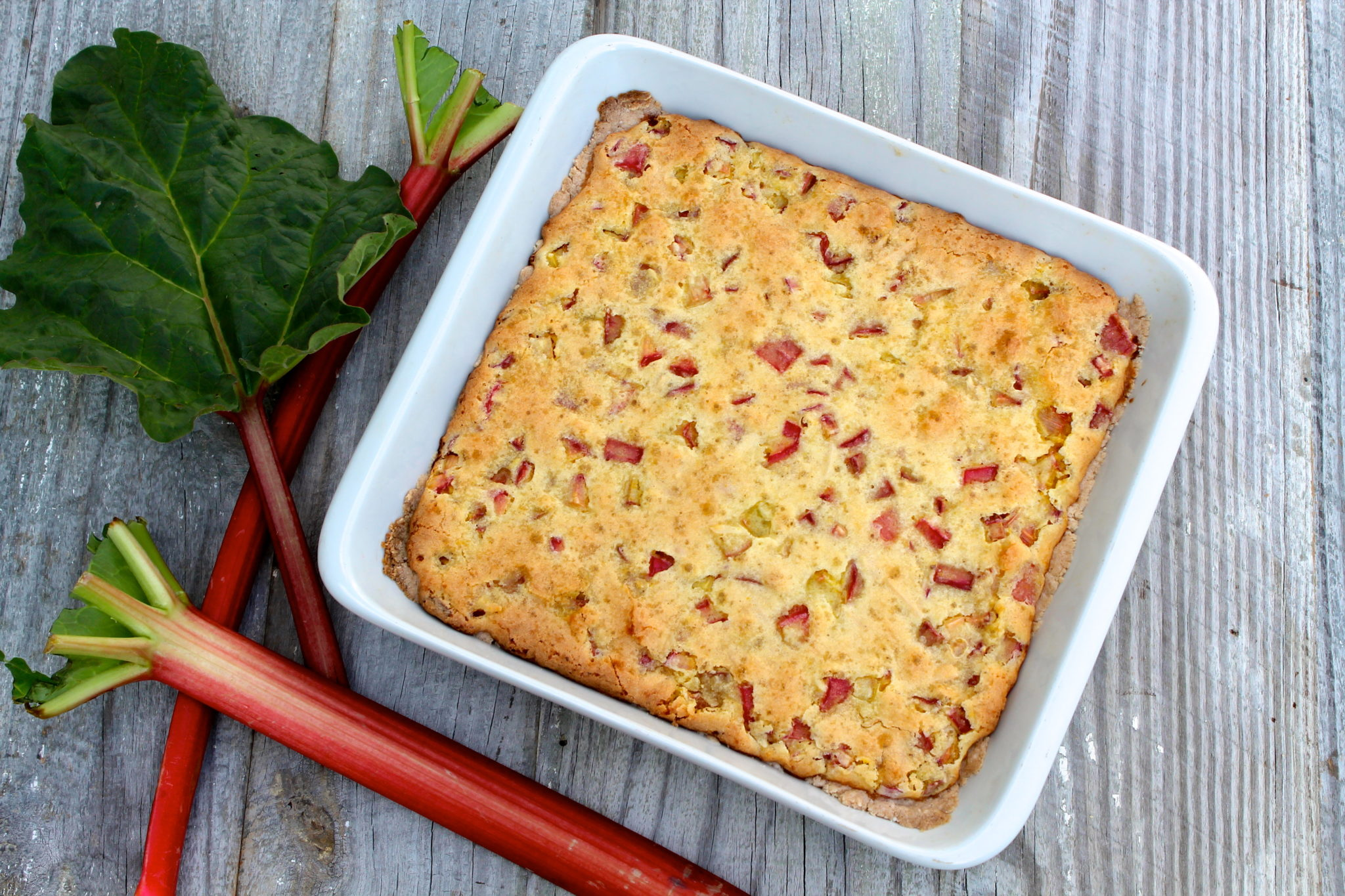 Ginger Almond Rhubarb Bars with Coconut Crust