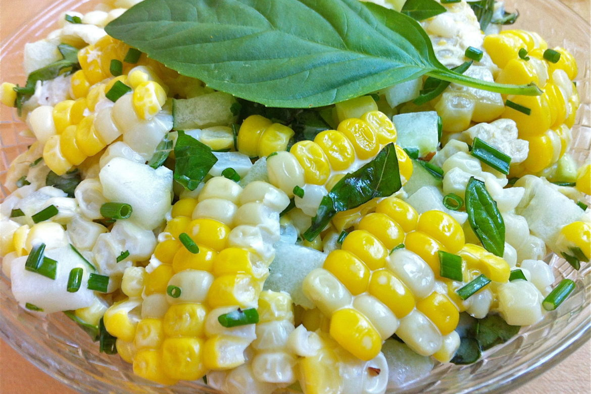 Corn And Cucumber Salad With Basil And Chives The Fountain Avenue