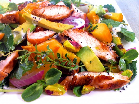... Summer Salad with Lime Honey Chicken and Creamy Poppy Seed Dressing