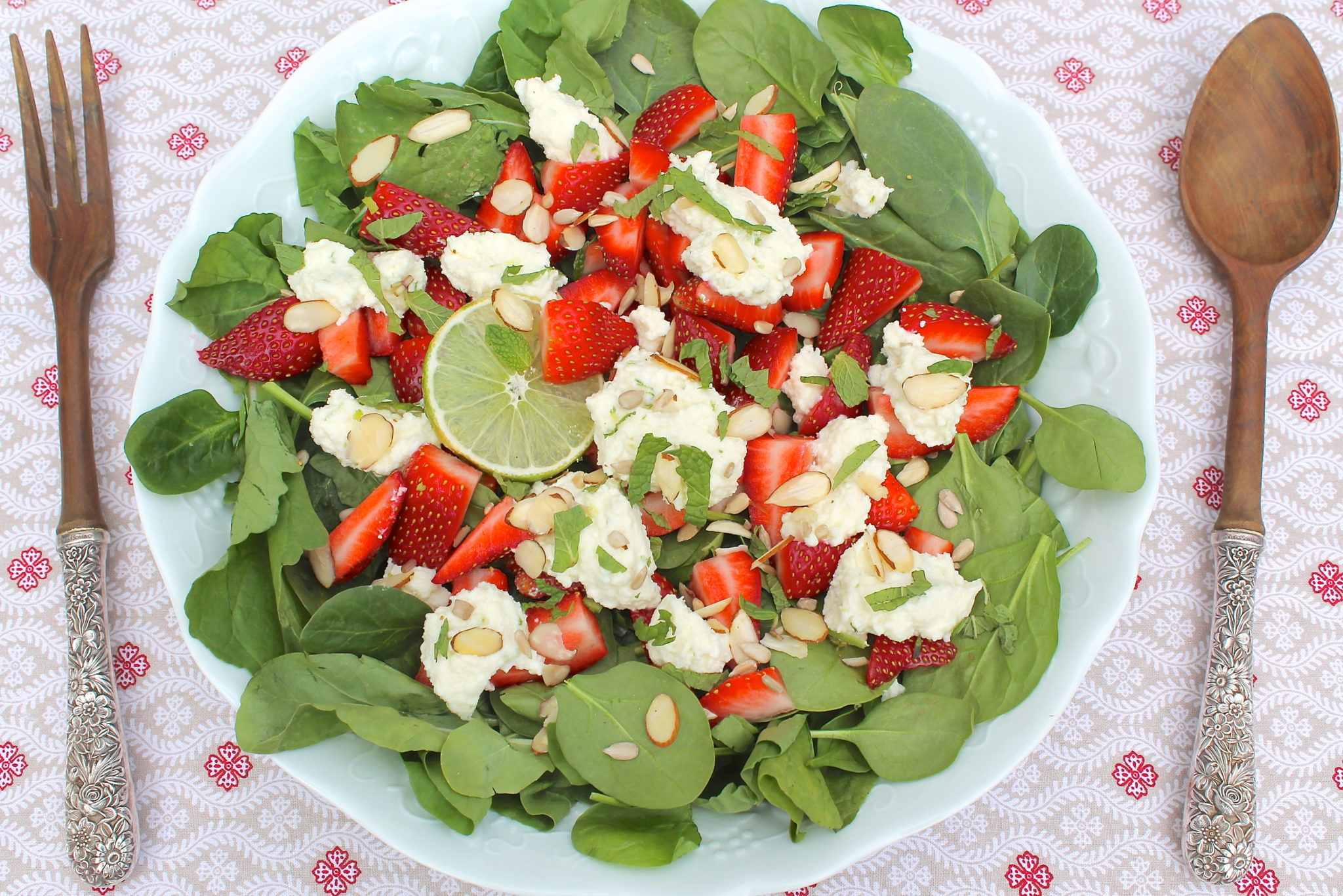 strawberry kumquat avocado salad with optional homemade ricotta