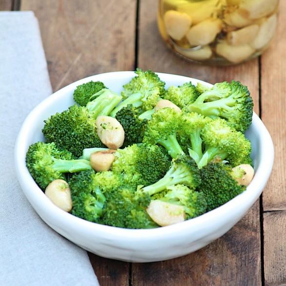 Warm Broccoli Salad with Fried Garlic
