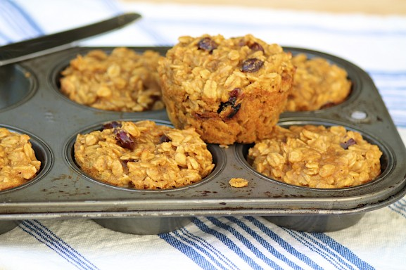 Cranberry Almond Baked Oatmeal Muffins