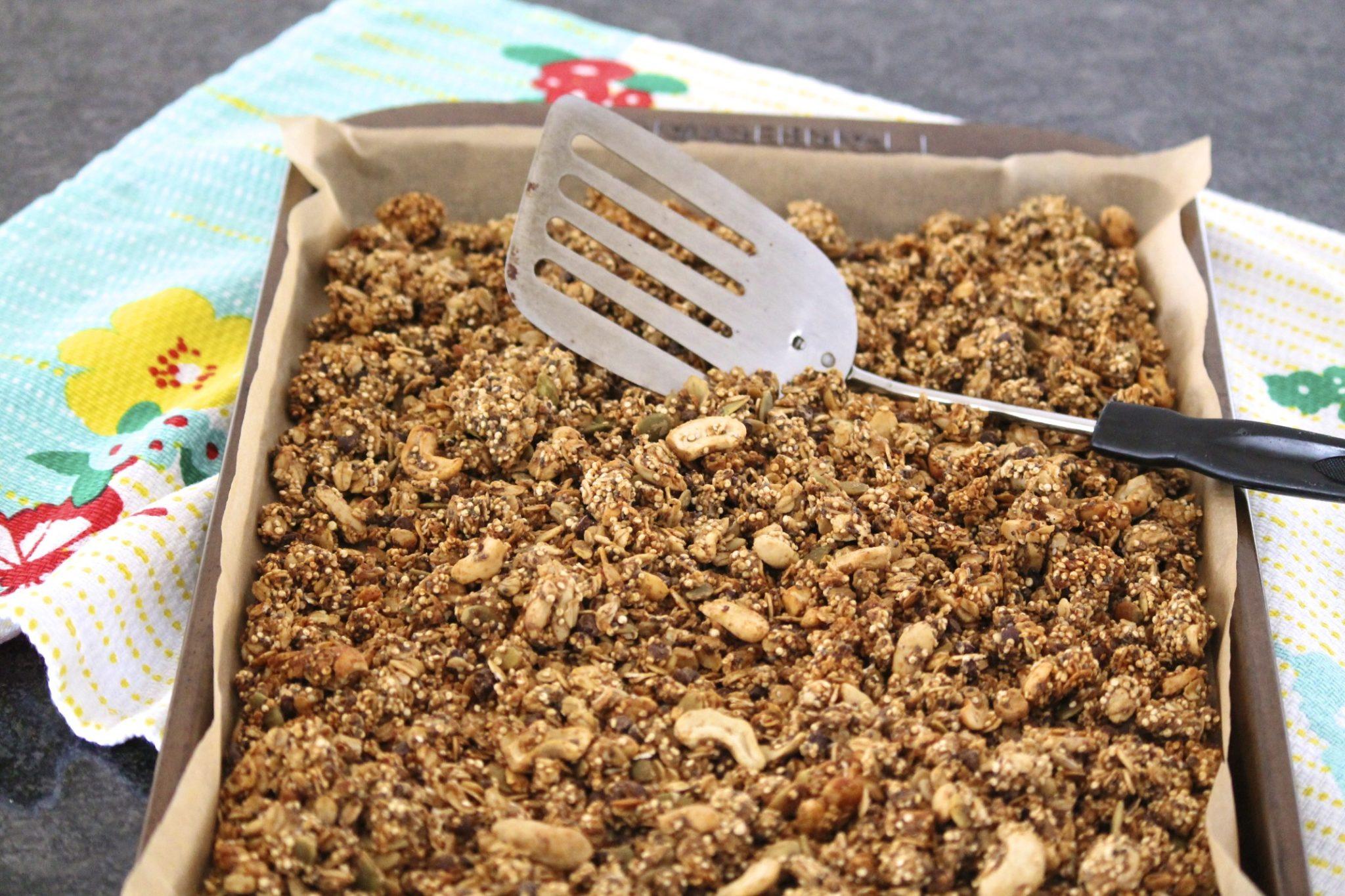 Peanut Butter Chocolate Chip Granola with Quinoa