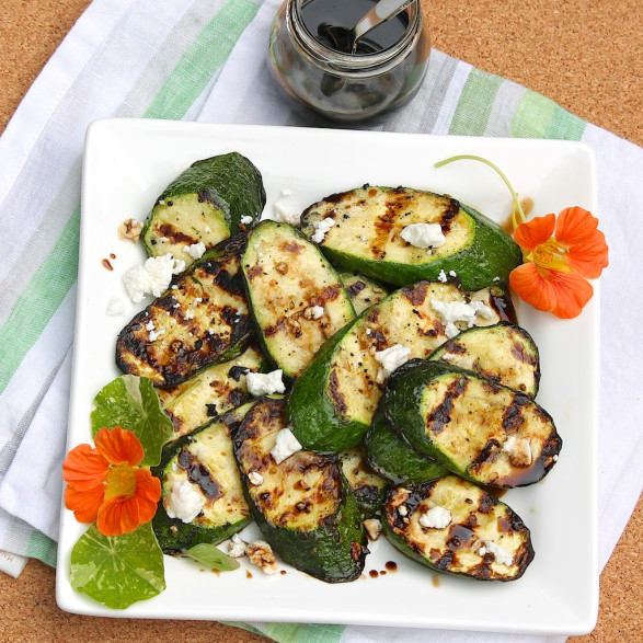 Grilled Zucchini with Goat Cheese and Balsamic-Honey Syrup -- and you'll want to put the sauce on everything!
