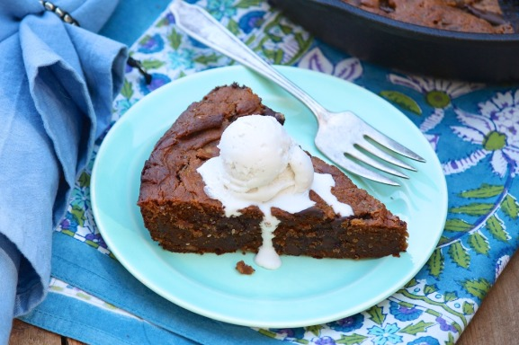 Chocolate Peanut Butter Skillet Cookie --decadent but healthy!