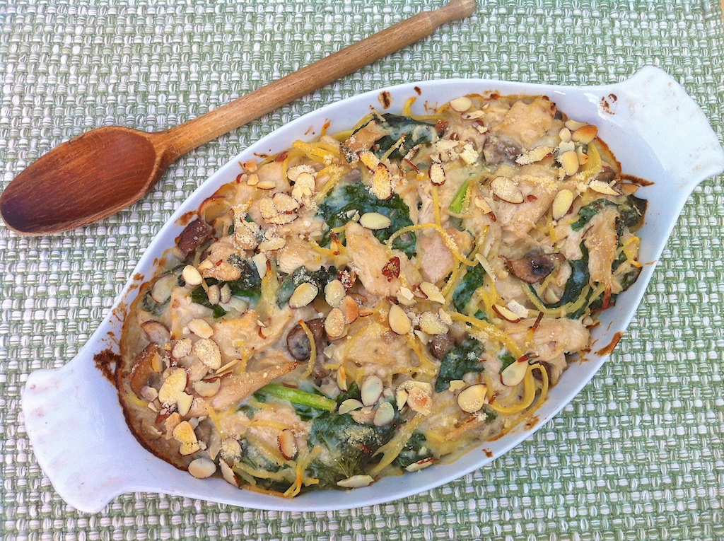 Turkey (or Chicken) Tetrazzini with Mushrooms and Kale