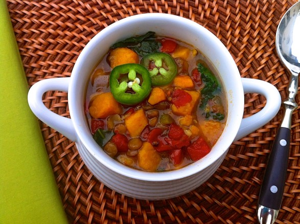 (Slow Cooker) Ginger Curry Lentil Soup with Sweet Potatoes