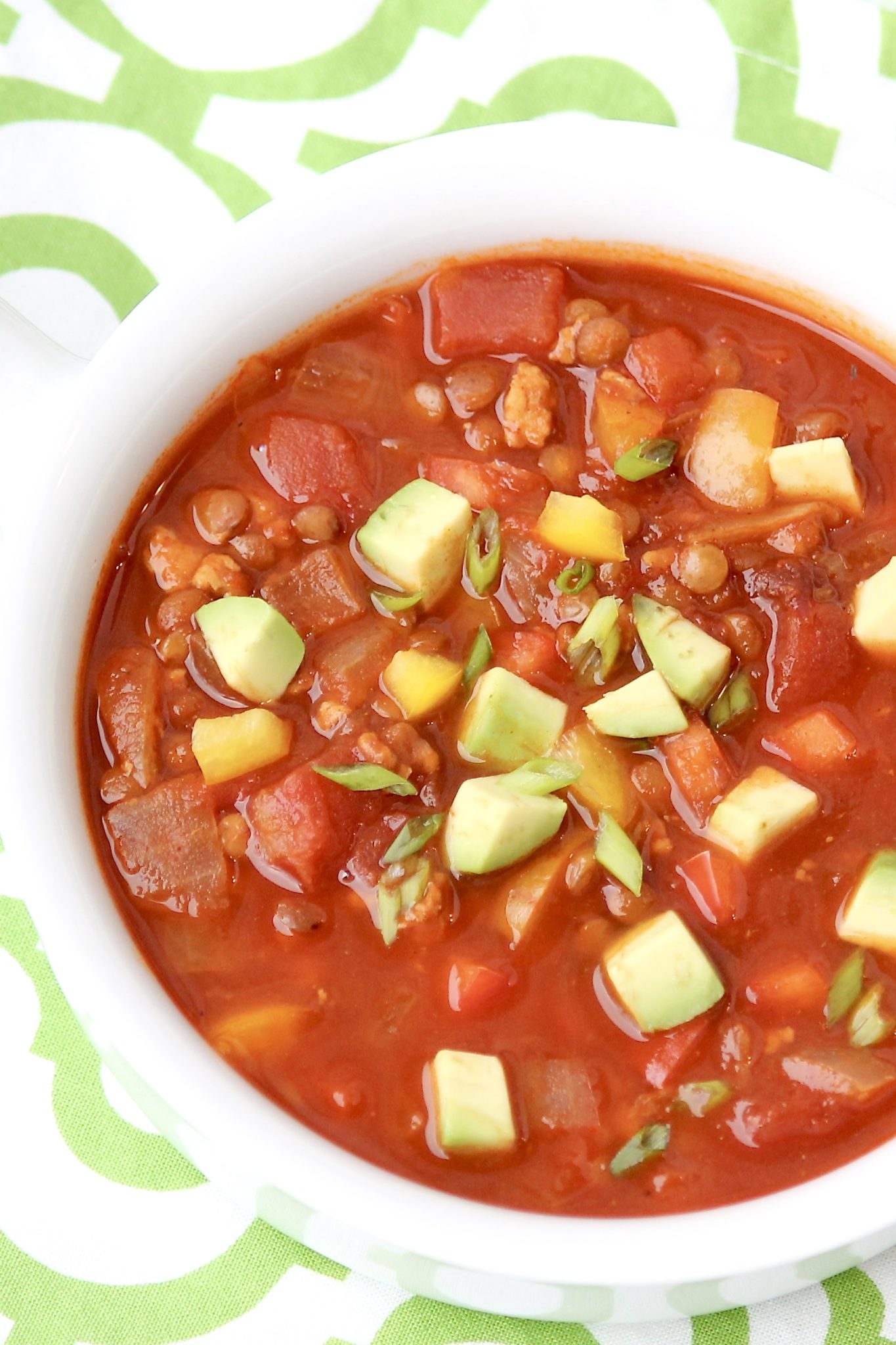 Lentils replace the beans while ground turkey stands in for beef in this spin on the traditional bowl of chili. It does so with a relatively short list of ingredients and a familiar flavor profile that even my kids enjoy!