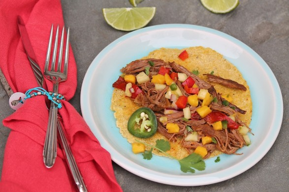 Slow Cooker Mexican Flank Steak with Mango Pineapple Salsa