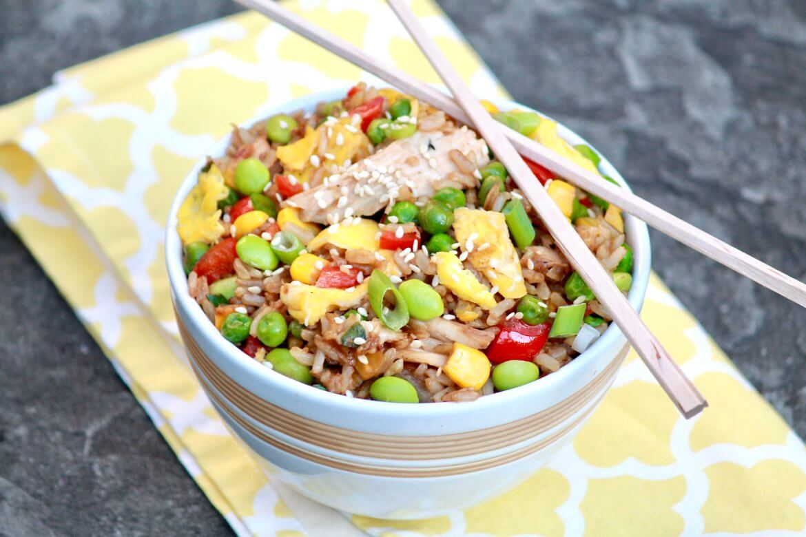 The flavor of homemade fried rice will rival your favoritetakeout version and be healthier, too. Leftover rice or chicken makes prep fast.