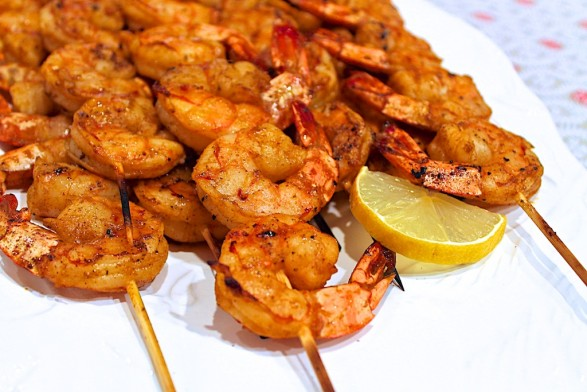 Fiery Grilled Shrimp - a party favorite as an appetizer or main dish