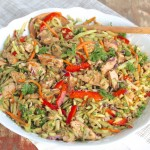Chicken & Broccoli Slaw with Speedy Thai Peanut Sauce
