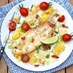 Flounder with Bacony Corn