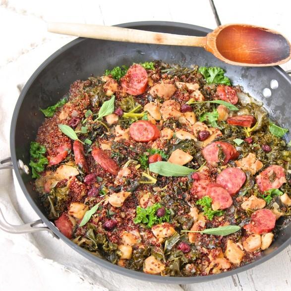 Smoked Kielbasa, Kale and Cider Quinoa Skillet