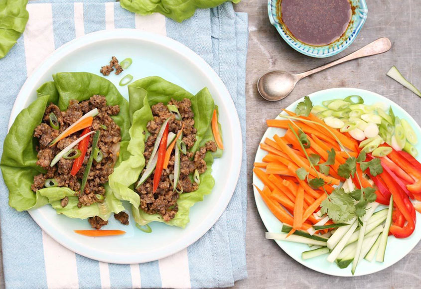Asian style wraps with beef