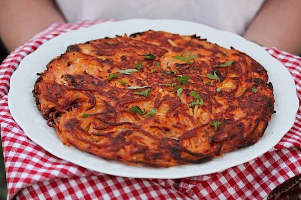 Leftover Spaghetti Pizza