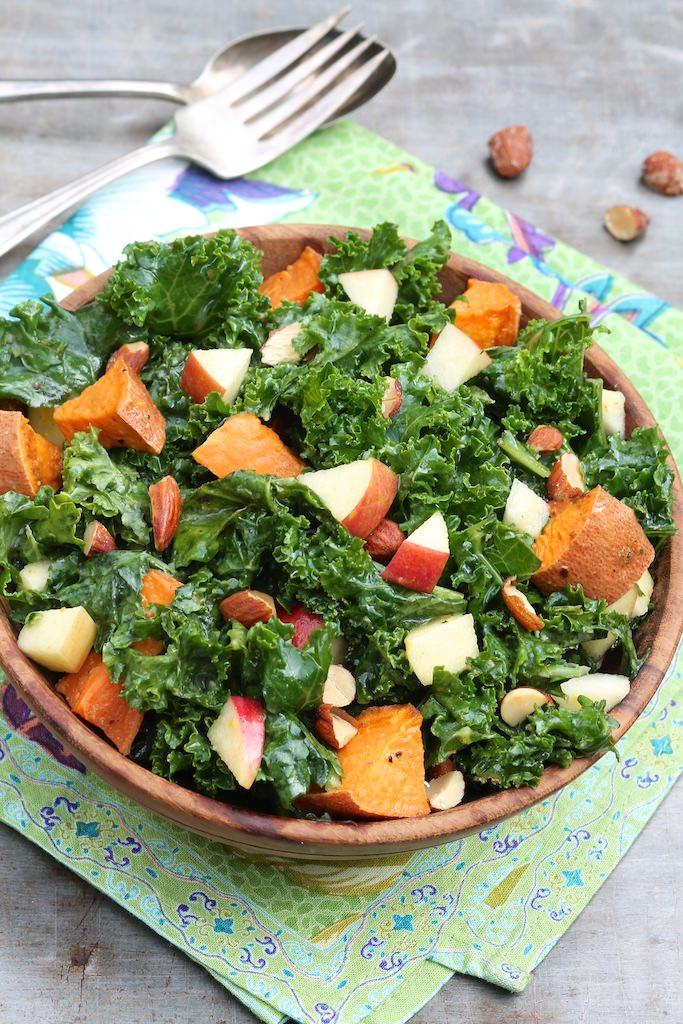 Lemon Dijon Kale Salad with Sweet Potatoes & Apple