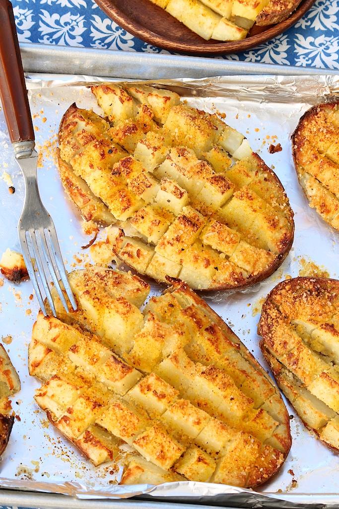 Roasted Checkerboard Potatoes with Parmesan & Homemade Seasoned Salt