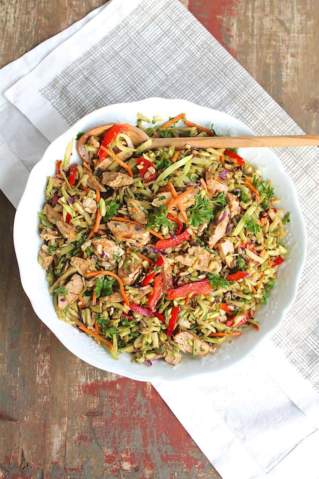 Chicken & Broccoli Slaw with Speedy Thai Peanut Sauce