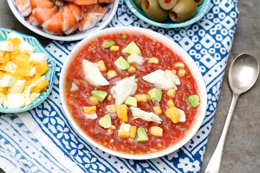Soup Kitchen Meal Classic Gazpacho A Toppings Bar Makes It A Meal Or A Party