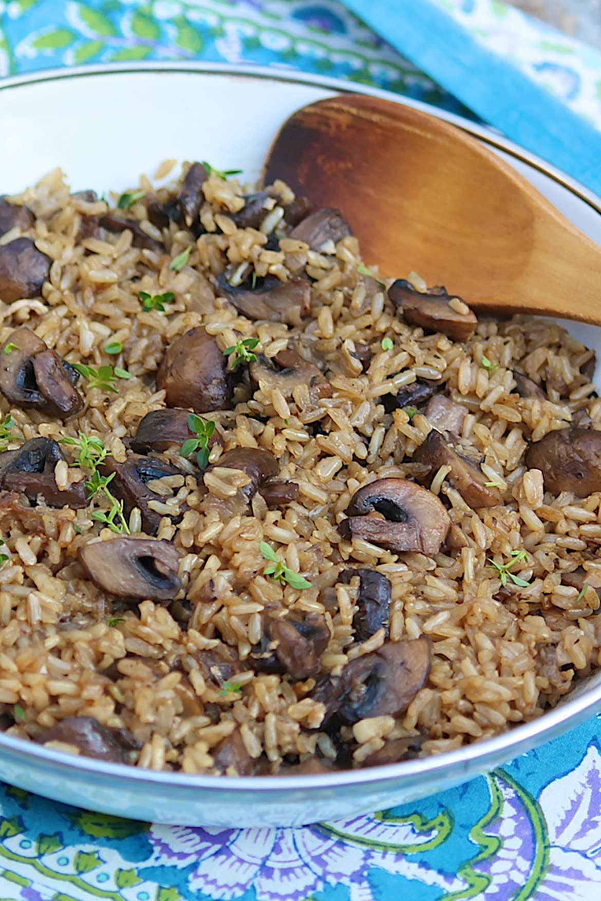Earthy mushrooms and a few other convenient ingredients turn basic brown rice into a special side dish.