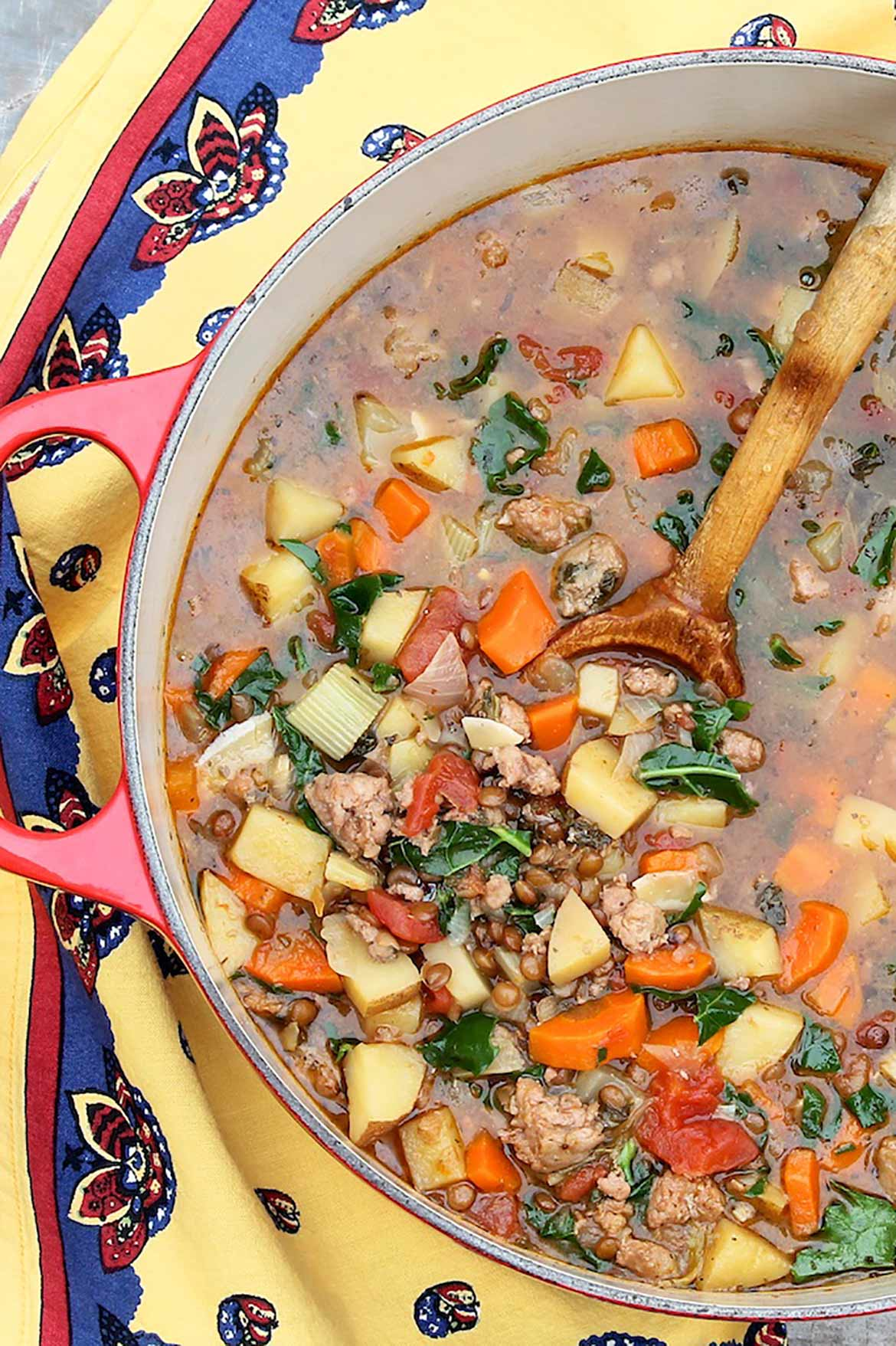 A hint of sausage supplies smoky, savory flavor in this one-pot soup, which is packed with plant-based protein, colorful veggies and satiating appeal. Wholesome comfort food at its best-and a customer favorite at a regional restaurant chain!