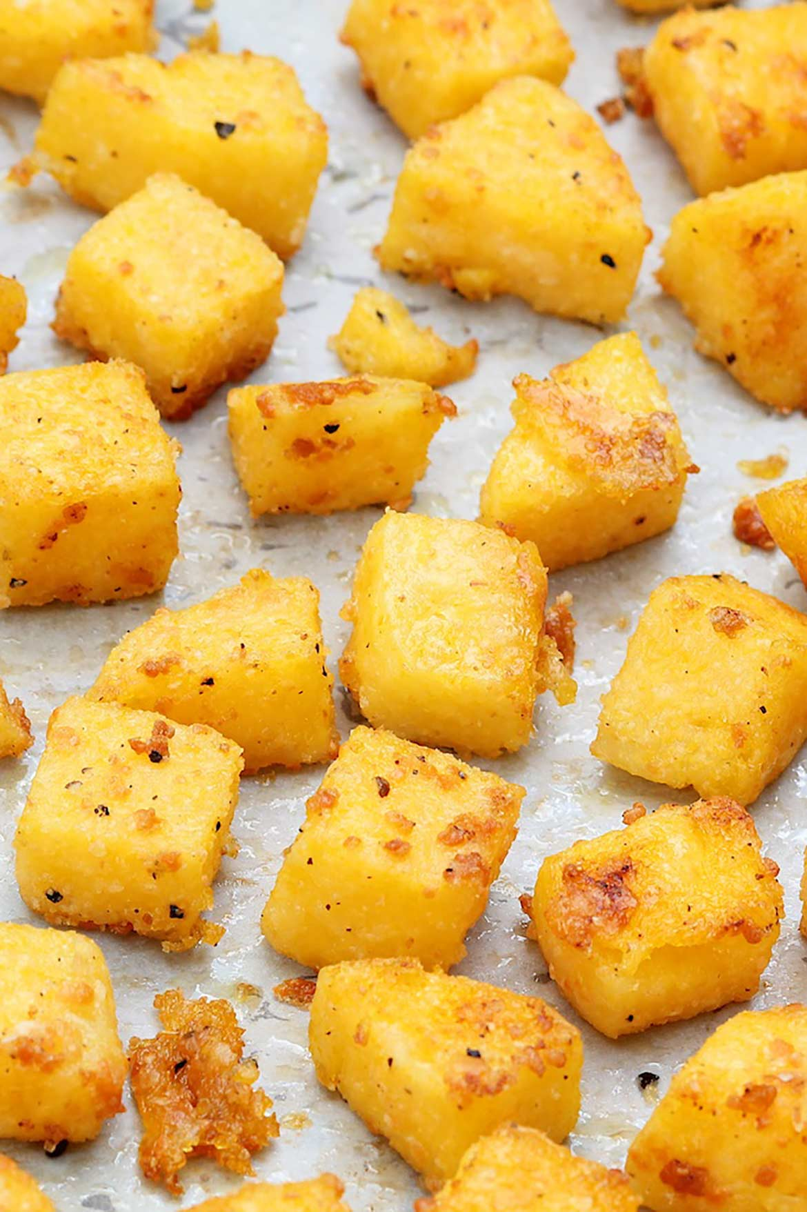 Tender on the inside and crispy on the outside, these golden bites are simple to make and add staying power to salads-although sneaky fingers are likely to devour them hot off the baking sheet!