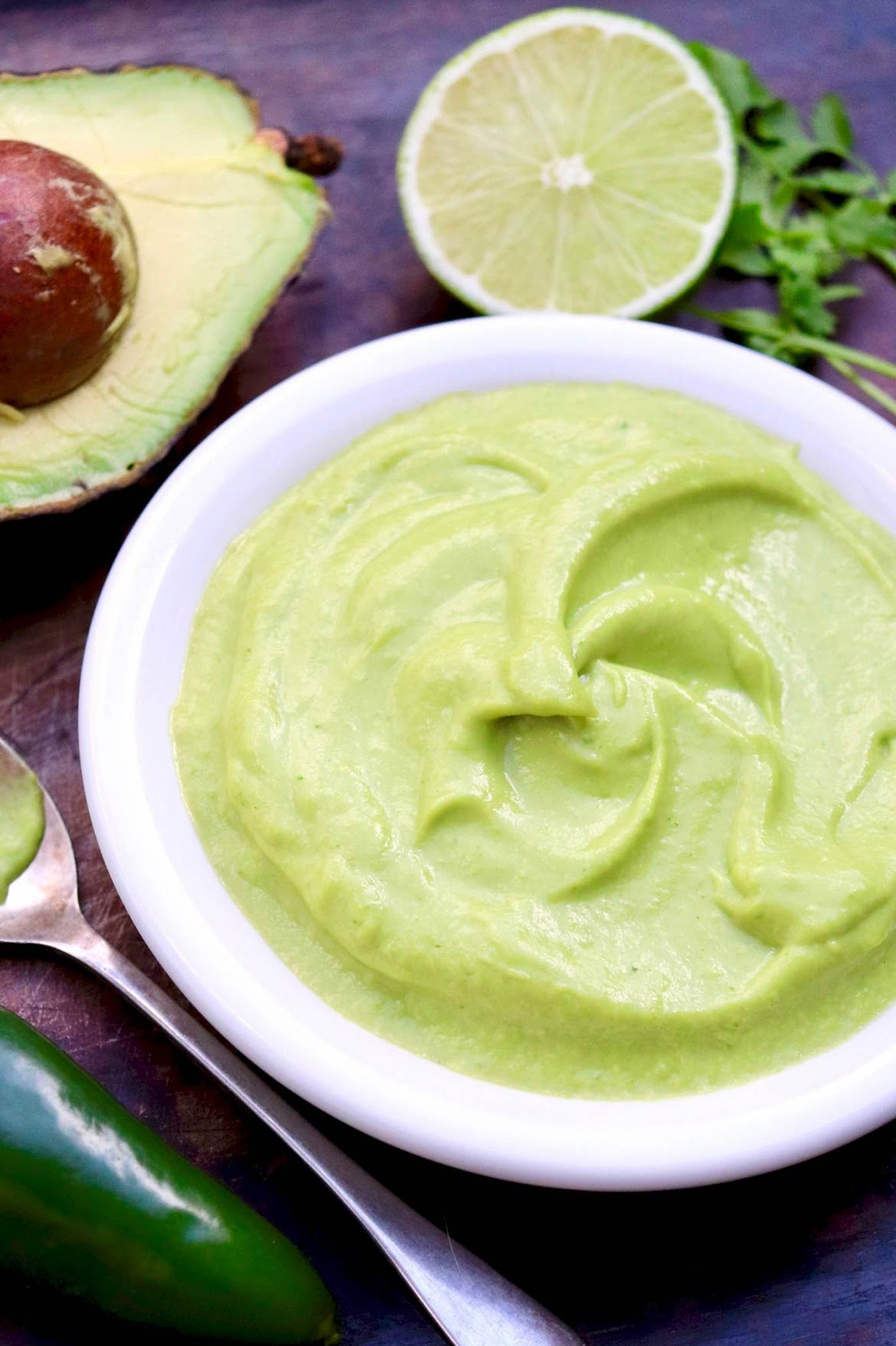 The flavor of this lusciously Creamy Avocado Lime Sauce is matched only by its versatility...plus it's dairy-free and vegan and will maintain its beautiful green color for days!