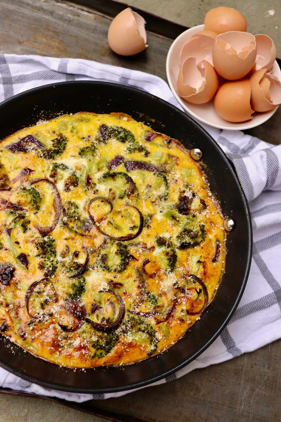 Slow-Baked Roasted Broccoli Frittata -- Creamy eggs meet caramelized veggies for a flavor-packed meatless meal that satisfies any time of day!