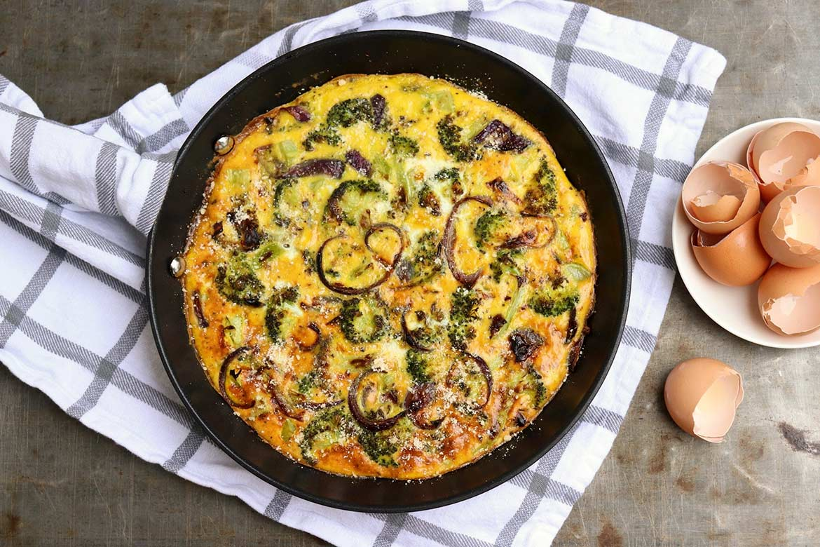 Slow-Baked Roasted Broccoli Frittata -- Creamy eggs meet caramelized veggiesfor aflavor-packed meatless meal that satisfies any time of day!