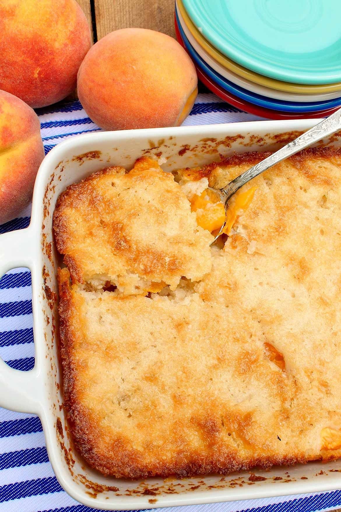 Cuppa Cuppa Cuppa Cobbler --  sweet peaches, a novel yet easy preparation, and those crispy edges make this seasonal dessert a perennial favorite!