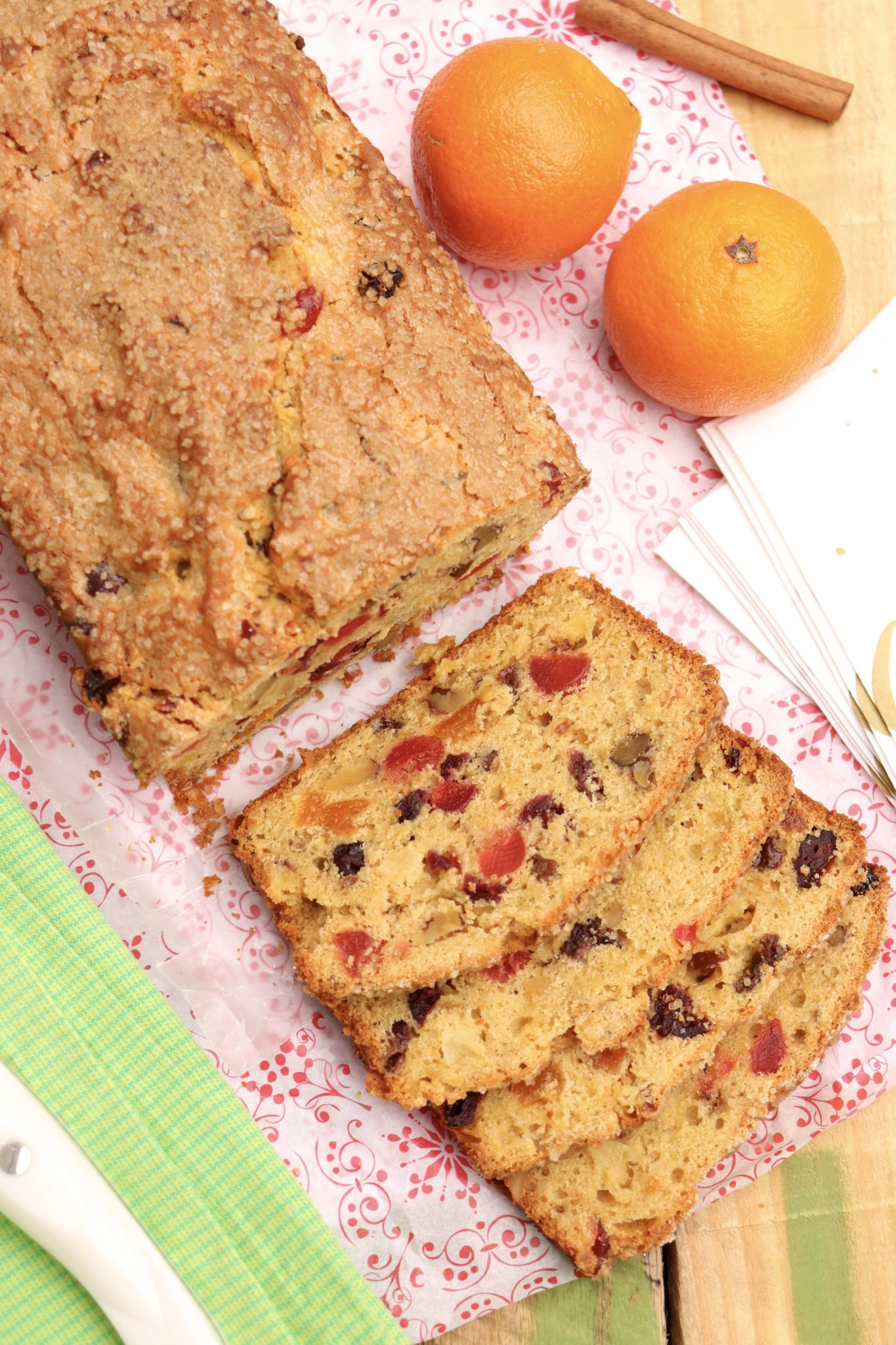 Fruitcake, reinvented: this quick and easy batter bread is packed with fruit and nuts but unlike traditional fruitcake is less sweet and more mildly spiced. Think shape and texture of a fruitier banana or zucchini nut bread.