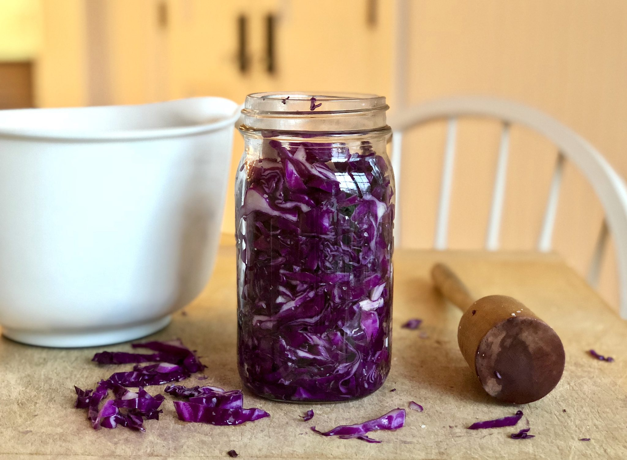 2-ingredient homemade sauerkraut is loaded with gut-healthy probiotics and incredibly easy to make.