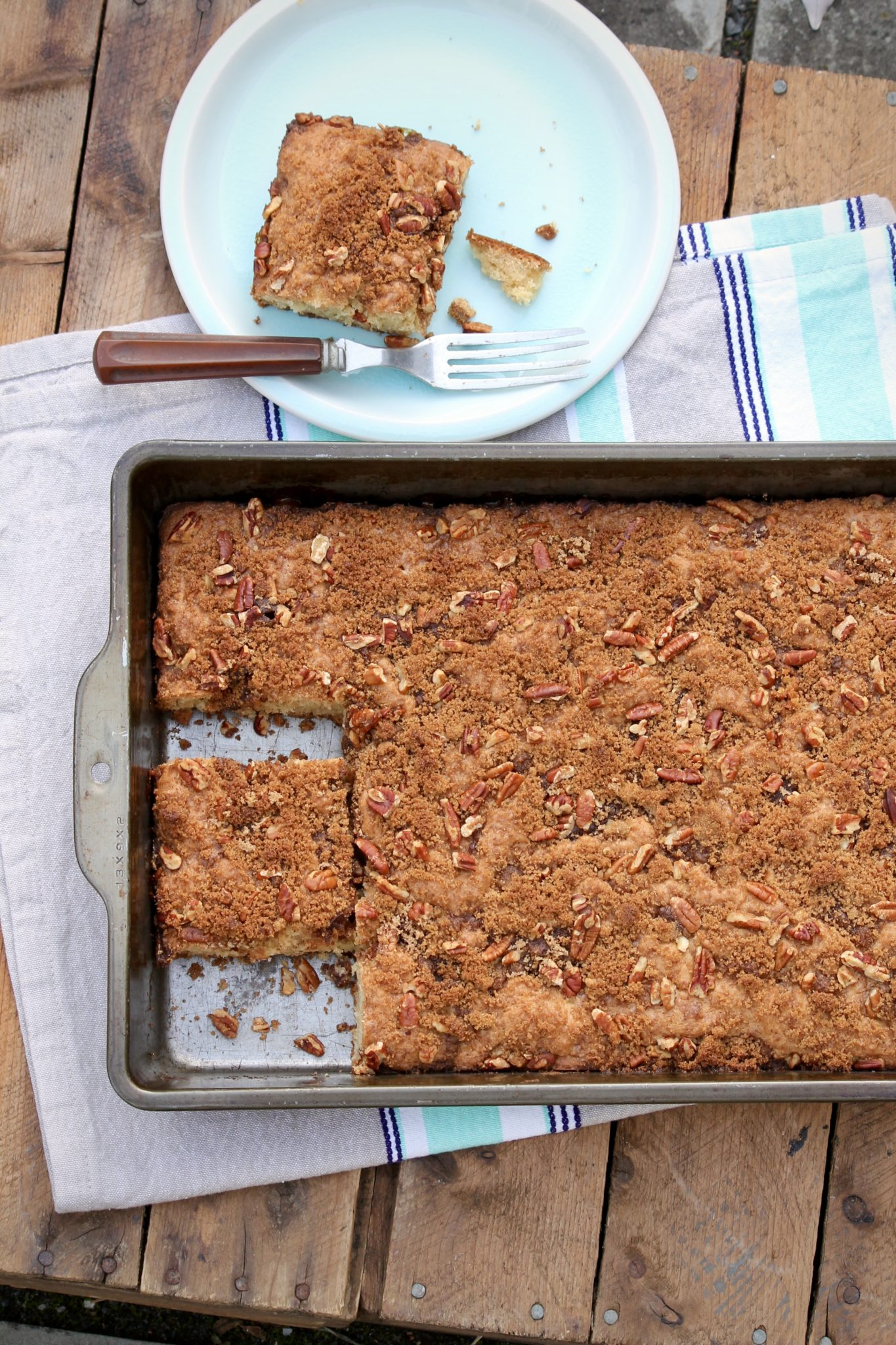 Overnight Cinnamon Pecan Coffee Cake is a longtime family favorite. Classic yet super simple, this recipe tastes just like a good coffee cake should!