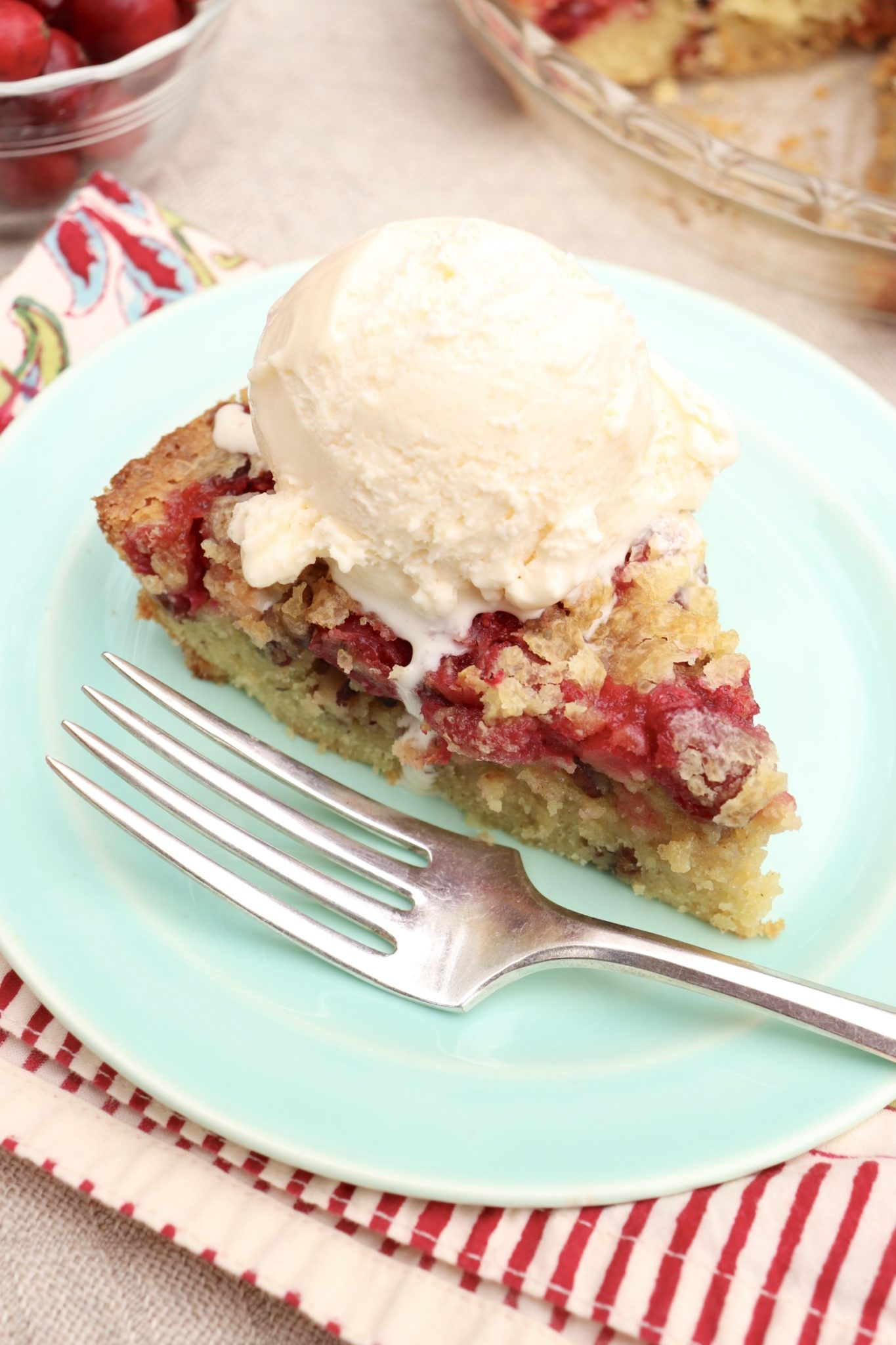 Crustless Cranberry Pie-festive, seasonal and so easy to make with pantry staples, this sweet-tart treat is fruit forward like a pie but somewhat cakier in texture.
