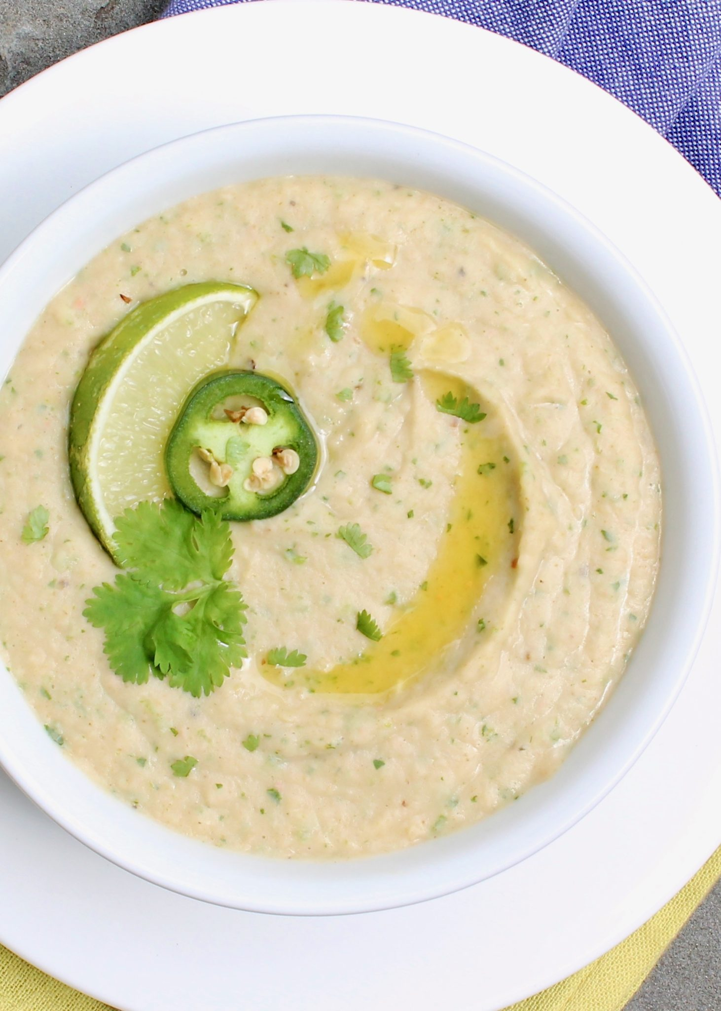Cilantro Lime White Bean Hummus -This healthy, easy-to-make hummus redefines the classic condiment by shaking up the usual ingredients and adding south-of-the-border flavor.