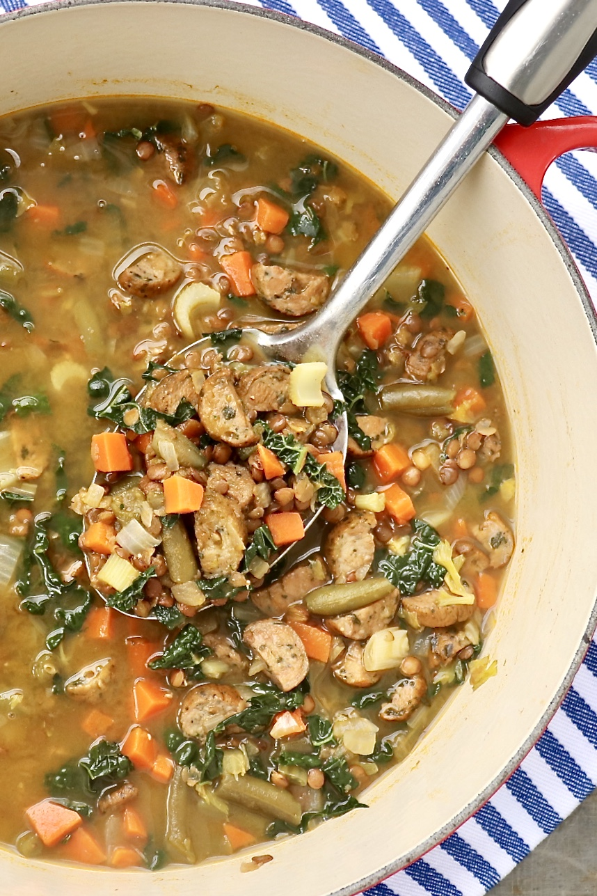 Andouille, Lentil & Vegetable Stew – The dump-and-cook approach makes this healthy and hearty soup extra easy to prepare - and the flavor might just make it a family favorite! Easily adapted for vegan diets, too.
