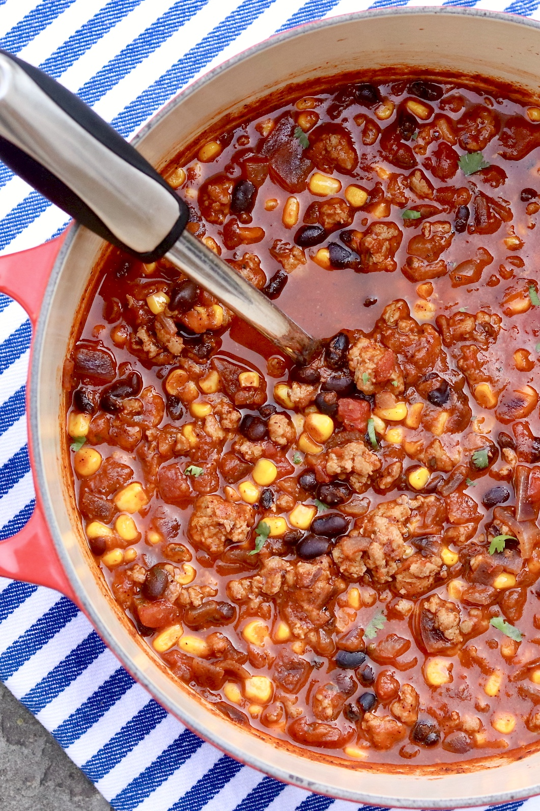 Aunt Peggy's Turkey Chili -Quick, easy and super satisfying, this flavorful meal is a go-to on busy nights and reheats beautifully.