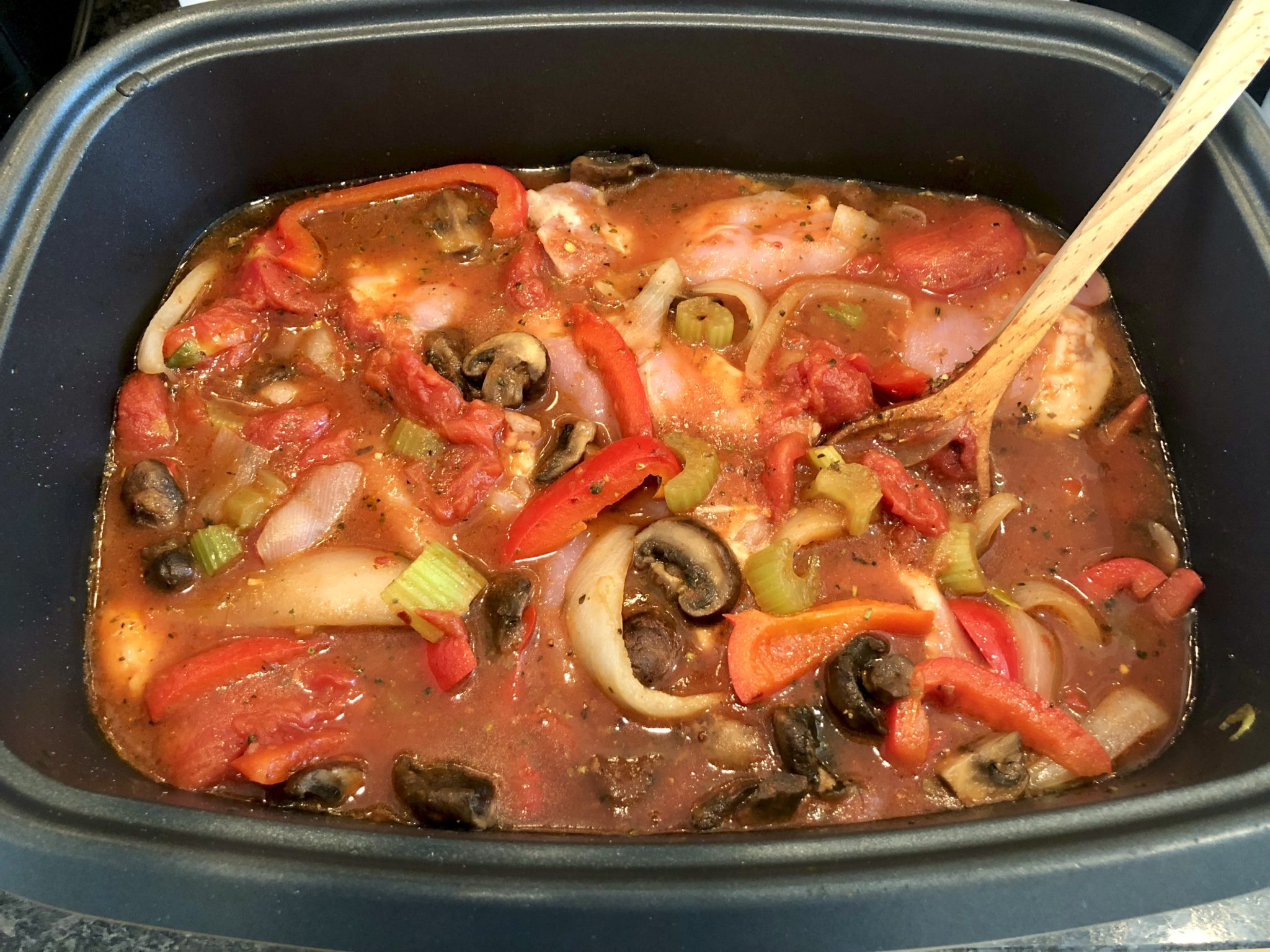 Instant Pot Chicken Cacciatore (with slow cooker option)-Tender, flavorfulchicken and lots of healthy veggies are the hallmark of thiseasy meal. Leftover sauce can be enjoyed like your favoritemarinara.