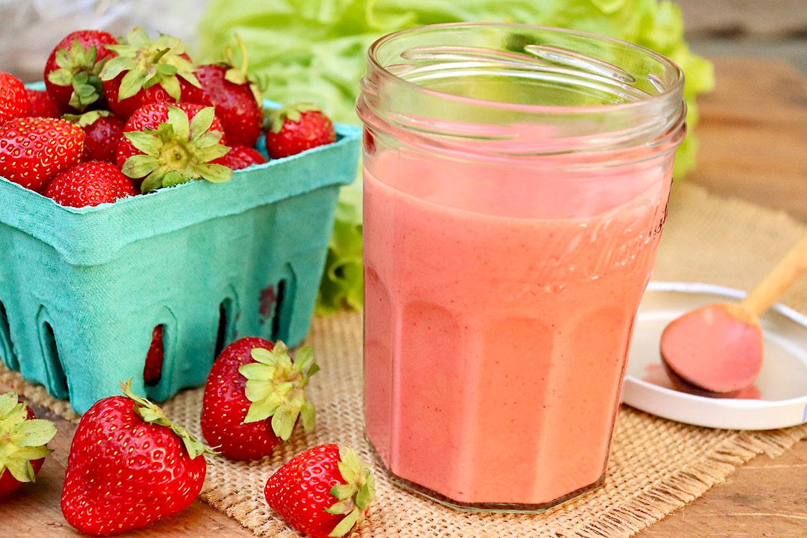 Strawberry Balsamic Dressing- fresh strawberries and a short list ofpantry staples are all that's needed for a dressing that's sure to become a family favorite!
