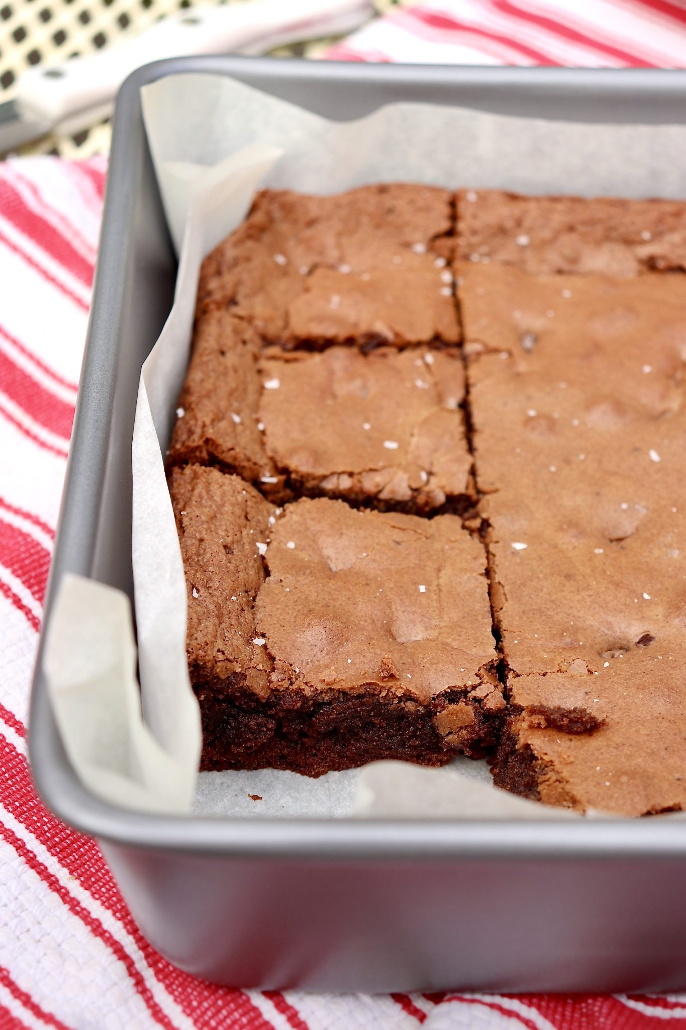 """Chewy edges yield to delightfully creamy insides and a """"just right"""" chocolate flavor in these Nutella-infused brownies...and the recipe fills a 9x13 pan!"""