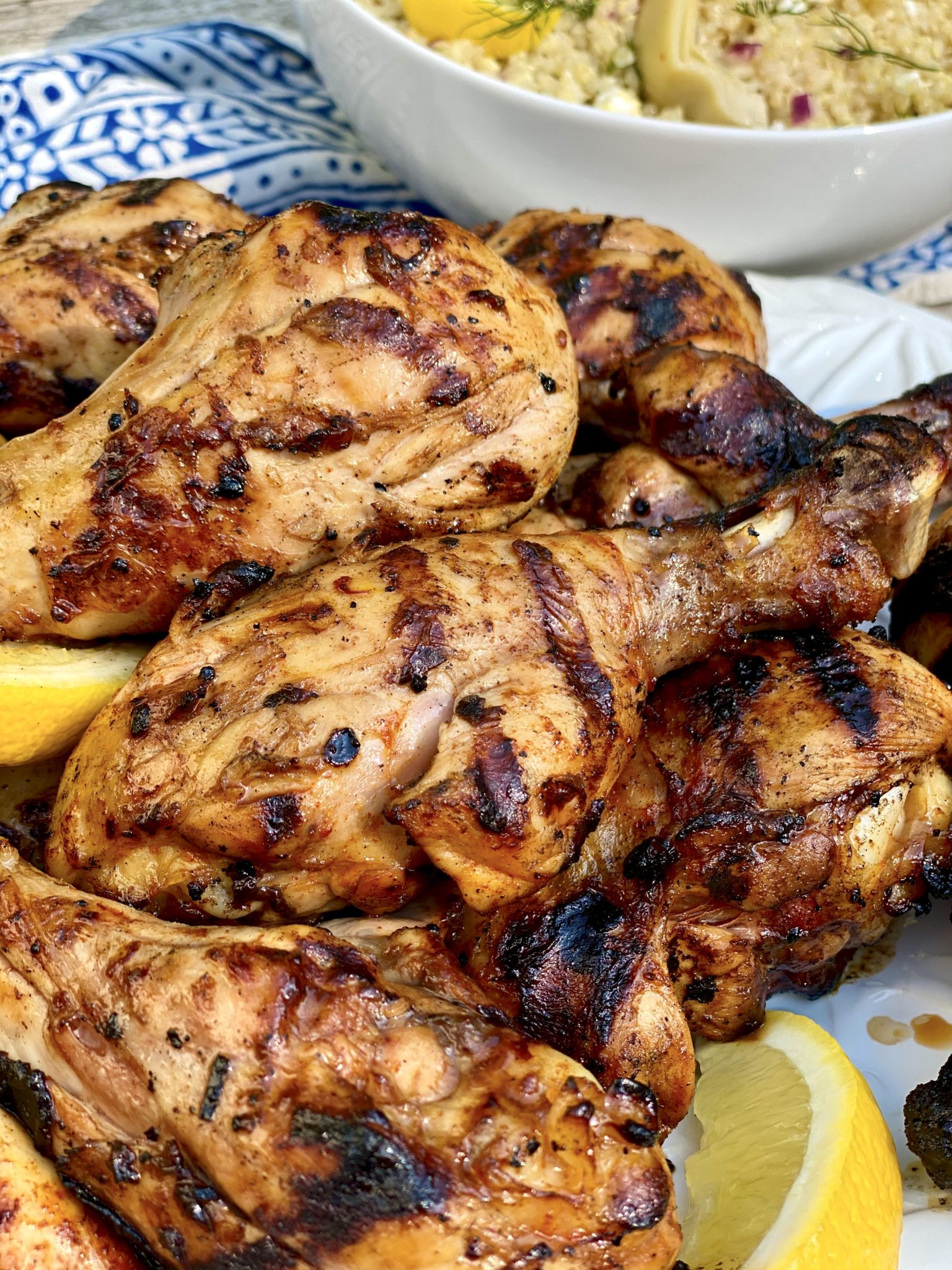 Healthier grilled drumsticks are tender and juicy on the inside and crispy on the outside (even when there's no skin!) thanks to this clever marinade.