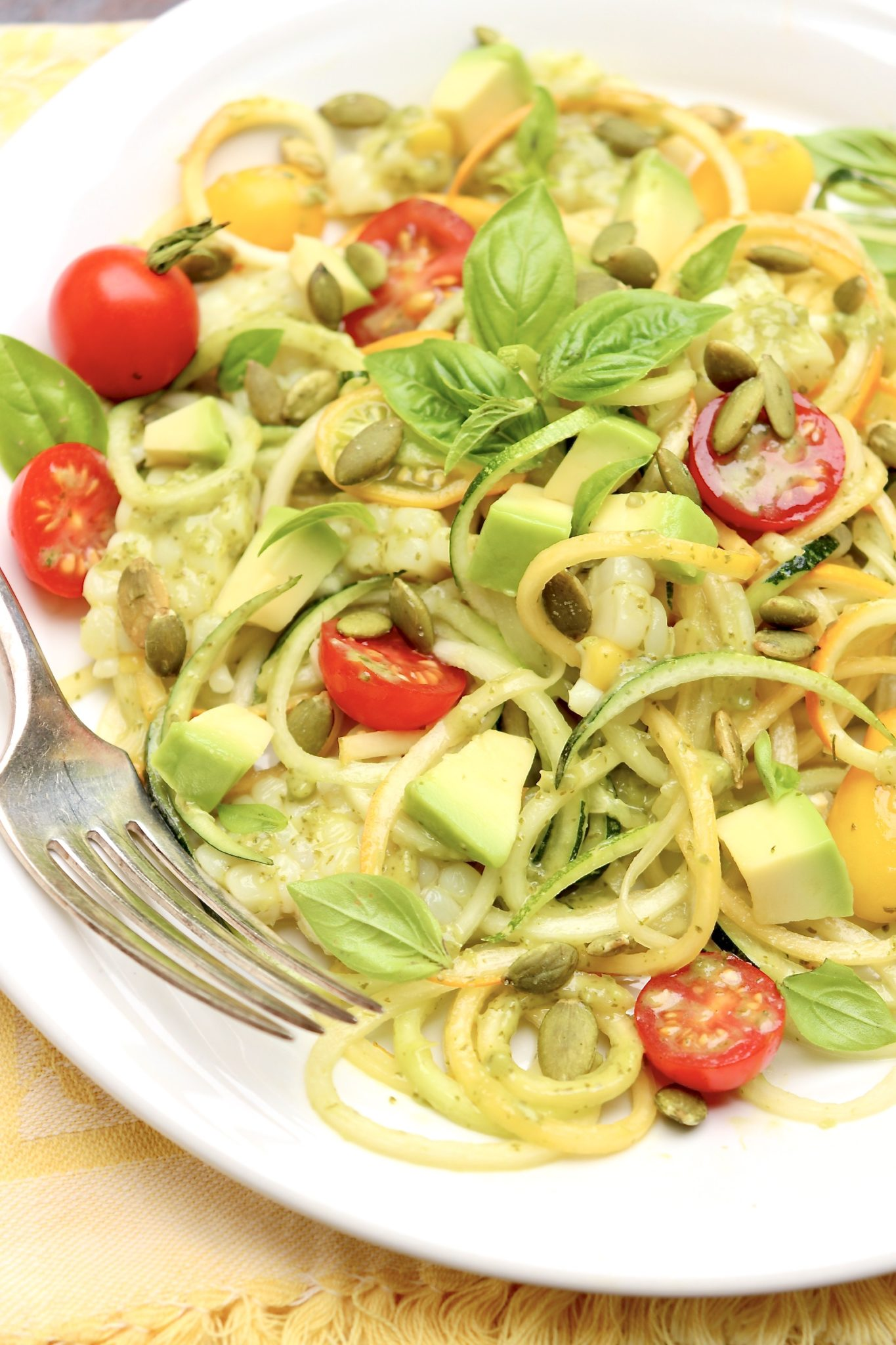 If preferred, you may use store-bought zucchini noodles. Over time, the pesto will brown and the zucchini will release some liquid, but I still find any leftovers to be quite good the next day for lunch. In this case, I usually add an extra sprinkle of crunchy seeds.
