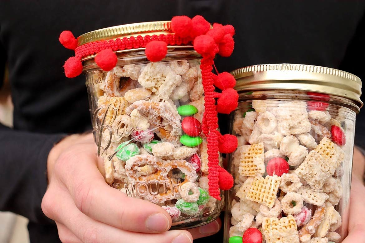 Sweet, salty, and delightfully crunchy, a big batch of this festive snack mix takes about 10 minutes to prepare and is perfect for holiday gift giving. Transform the recipe for any occasion by simply varying the color of the M&Ms!
