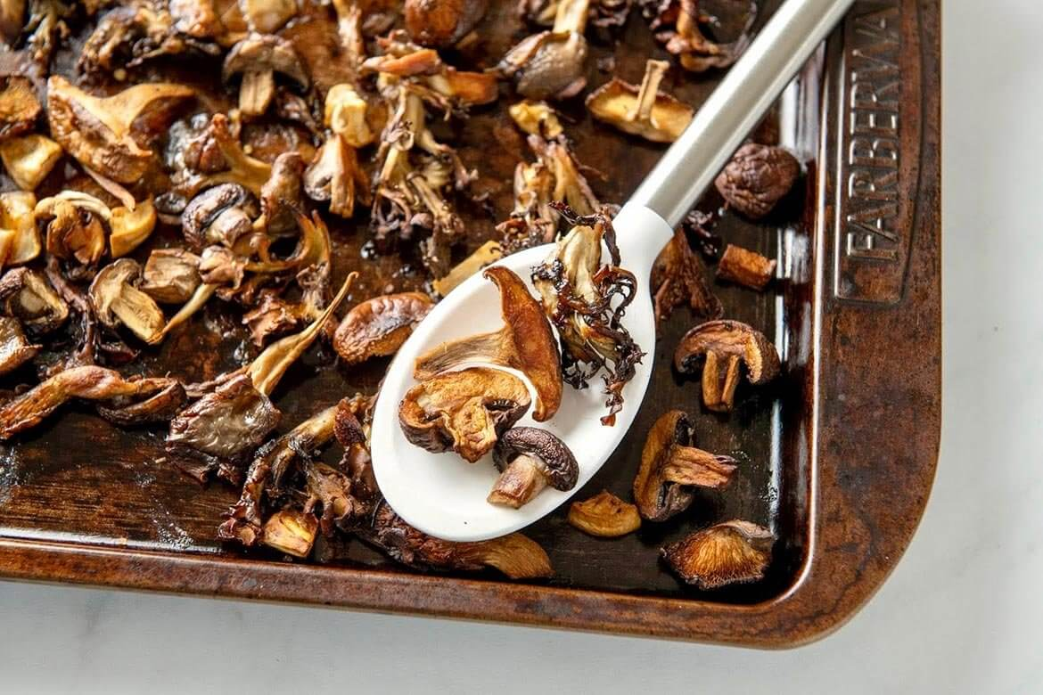 The simplest of ingredients and a straightforward technique transform earthy mushrooms into a meaty, savory, satisfying dish that can be enjoyed in so many ways. And though wild mushrooms are widely available and contribute interest and textural variety, this hands-off technique will make the most of basic button mushrooms.