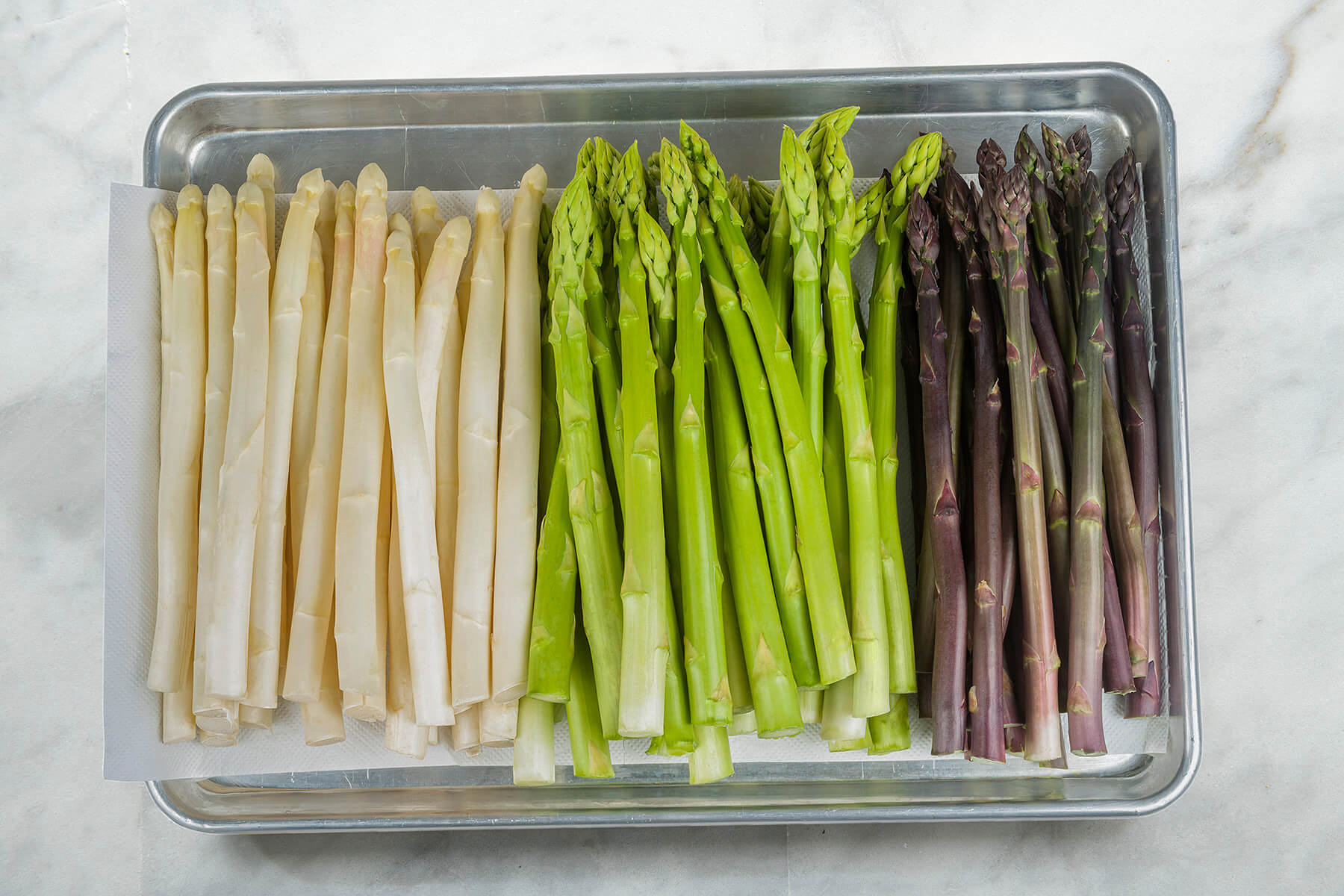 green, white, and purple asparagus
