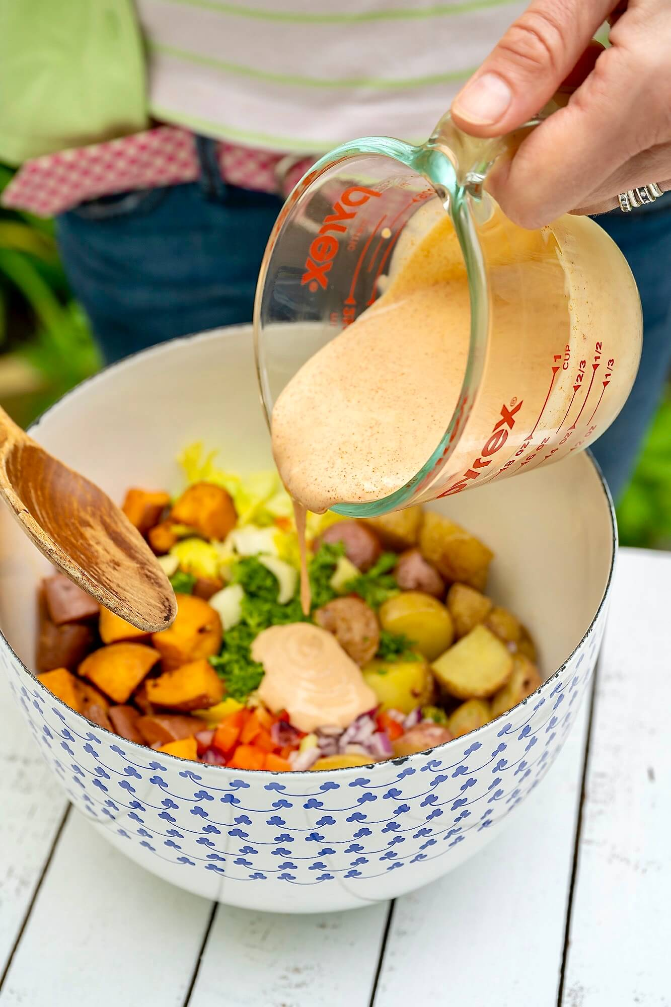 No need to peel the potatoes in this customizable salad, which uses a unique dressing that can be made in advance.