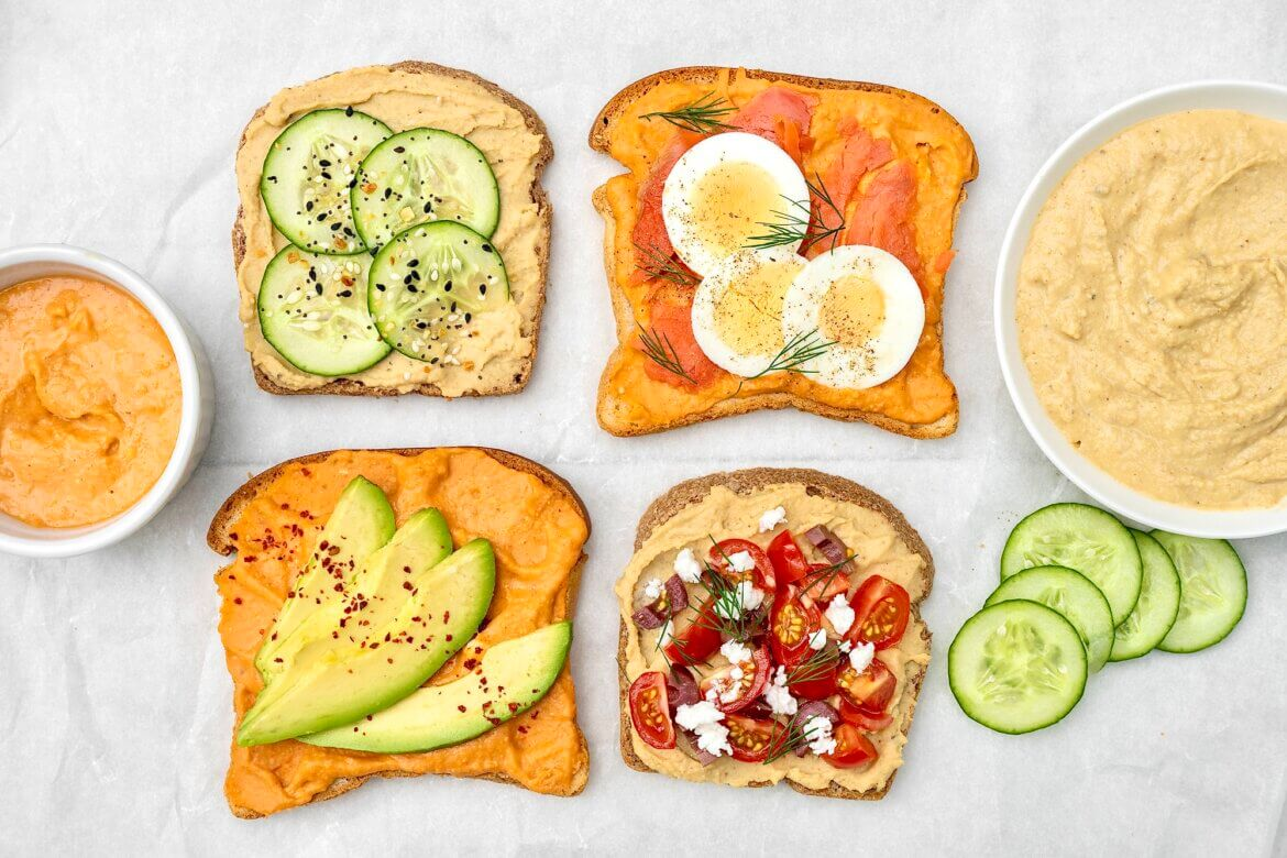 Crunchy, creamy, cool, crisp, and incredibly versatile, hummus toast offers a quick, protein-rich meal that tastes great any time of day